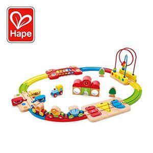 Hape --E3826-Circuit de Train en Bois-Chemin de Fer Puzzle Arc-en-Ciel Circuits de Voitures, E3826, Multicolore, Taille Unique - Publicité