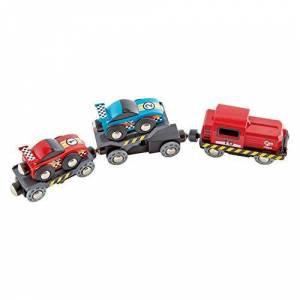 Hape E3735 Transports de Voiture de Course et de Jeu de Train Bleu/Rouge - Publicité