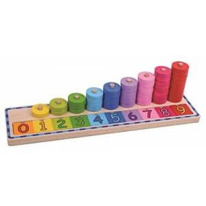 Tooky Toys Wooden Counting Stacker Jeux, TKJH851, Multicolore - Publicité