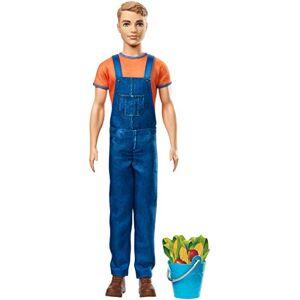 Barbie Famille poupée Ken à la ferme, fermier avec seau de légumes, jouet pour enfant, GCK73 - Publicité