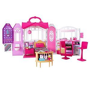 Barbie Mobilier Maison de poupée  Emporter transportable rose et blanche fournie avec lit, chaises et accessoires, jouet pour enfant, CHF54 - Publicité