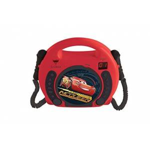 LEXIBOOK Disney Pixar Cars Flash McQueen Lecteur CD pour enfant avec 2 microphones jouets, prise écouteurs,  piles, Rouge/Noir, RCDK100DC - Publicité