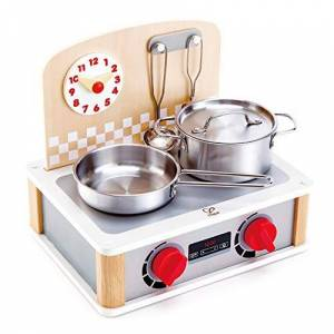 Hape - Jeu d'Imitation en Bois-Cuisine-Cuisinire/Barbecue Recto Verso, E3151, Blanc - Publicité