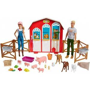 Barbie et Ken Coffret étable poupées et figurines animaux de la ferme, jouet pour Enfant, GFF51 - Publicité