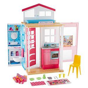 Barbie Mobilier coffret maison 2 étages et 4 pices avec accessoires, jouet pour enfant, DVV47 - Publicité