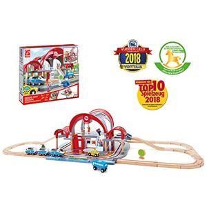 Hape -E3725-Circuit de Train en Bois-Grande Gare Urbaine Circuits de Voitures, E3725, Multicolore - Publicité
