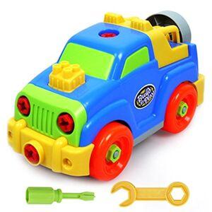Akokie Jeux de Construction Voiture Jouet Assemblage Jeep Flexible Blocs Cadeau pour Enfant Garon Fille 3 Ans Et Plus (Light Blue) - Publicité