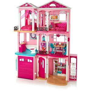 Barbie Mobilier Grande Maison de poupée de rve,  3 étages et 7 pices dont cuisine, chambre, salle de bain et accessoires, jouet pour enfant, FFY84 - Publicité