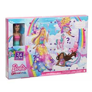 Barbie Calendrier de l'Avent Dreamtopia fourni avec poupée blonde en maillot de bain dégradé et 24 accessoires surprises, jouet pour enfant, GJB72 - Publicité