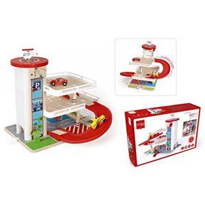 Scratch Europe Scratch Preschool: Garage CONTILOOP 45x57x39cm, avec Ascenseur , 3 Pompes  Essence, 2 Voitures et 1 hélicoptre Inclus, en Bois, en bote, 3+ - Publicité
