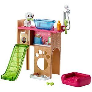 Barbie Mobilier Coffret Toilettage du Chien avec meuble, toboggan pour figurine et accessoires de lavage, jouet pour enfant, DVX50 - Publicité