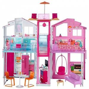Barbie Mobilier Grande Maison de poupée de Luxe  2 étages et 4 pices dont cuisine, chambre, salle de bain et accessoires, jouet pour enfant, DLY32 - Publicité