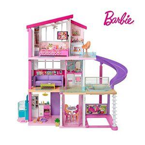 Barbie Mobilier Dreamhouse, maison de poupées  deux étages avec ascenseur, piscine, toboggan, cinq pices et garage, jouet pour enfant, FHY73 - Publicité