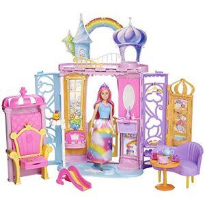 Barbie Mobilier Chteau Dreamtopia Arc-en-Ciel, Maison  Emporter avec 4 Espaces, avec Poupée, Chien Honey et 15 Accessoires inclus, Jouet pour Enfant, FRB15 - Publicité