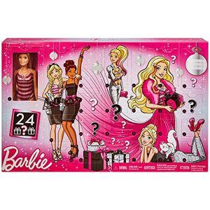 Barbie Calendrier de l'Avent fourni avec poupée blonde en maillot de bain rayé et 24 accessoires surprises, jouet pour enfant, GFF61 - Publicité