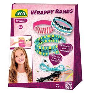 Lena 42652 Kit de bricolage Wrappy Bands complet pour au moins 3 bracelets avec 7 bandes en silicone en 5, cordon de 4 couleurs et 48 perles enfilées, bijoux pour enfants  partir de 6 ans Multicolore - Publicité