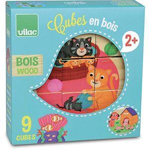 Vilac - 9 Cubes en Bois, 2406, Coloris aléatoire - Publicité