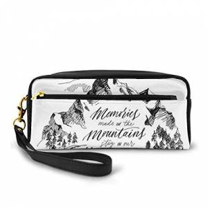JJIAYI Pencil Case Pen Bag Pouch Stationary,Memories Made In The Mountains Stay In Our Hearts Forever Quote Sketch Landscape,Small Makeup Bag Coin Purse - Publicité