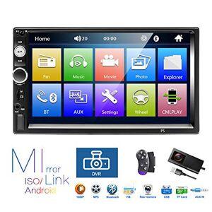 podofo Autoradio 2 Din, Lecteur MP5  écran Tactile HD 7 '' avec Lien Miroir Bluetooth, Prise en Charge DVR/USB/Carte Radio FM/TF/Commande au Volant/entrée de caméra de recul/télécommande - Publicité
