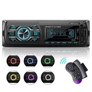MEKUULA Autoradio Bluetooth Mains Libres, Radio Voiture avec 2 Ports USB,4x60W Radio Voiture Support FM/USB/MP3/WMA/TF/AUX +Télécommande, 7 Couleurs d'Eclairage,Soutien iOS, Android - Publicité