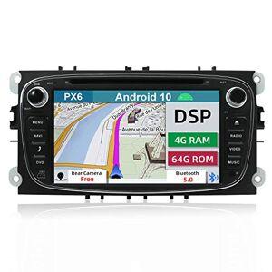 YUNTX PX6+DSP Android 10 Autoradio Compatible avec Ford Focus/Mondeo/S-Max/Connect [4G+64G] GPS 2 Din -Caméra arrire Gratuite -Soutien Dab/Commande au Volant/WiFi/Bluetooth 5.0/Mirrorlink/AHD - Publicité