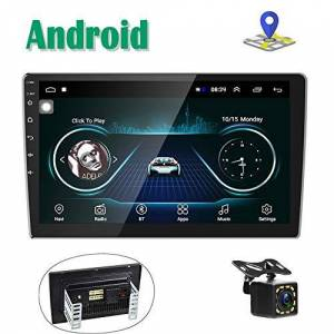 CAMECHO Android Autoradio GPS Navigation Stéréo Lecteur 2 Din 10'' cran Tactile Bluetooth WiFi FM Récepteur Mobile Téléphone Miroir Lien avec Double USB + Caméra de Vision arrire - Publicité