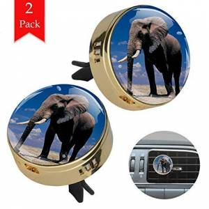 Lurnies léphant animal bleu ciel Désodorisant diffuseur d'huile essentielle d'aromathérapie Gold Car (2 paquets) avec verre cristal et tampons de recharge 34x46mm - Publicité