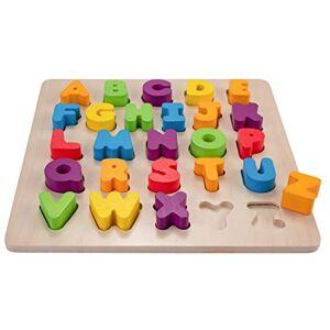 Engelhart l' Alphabet et Les Chiffres Puzzles en Bois d'encastrement éducatifs et écologique Jeux préscolaire  partir de 2 Ans Dimensions : 25,5 x 26 x 3 cm (Alphabet) - Publicité