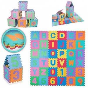 Baby Vivo Puzzle tapis de jeu tapis de sol en mousse alphabet et chiffres bébé enfant jouet éducatif - Publicité
