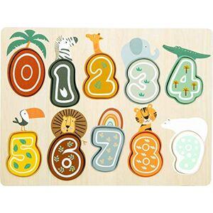 Small Foot 11702 Puzzle Nombre  Poser Safari avec Motifs d'animaux en Bois,  partir de 12 Mois - Publicité
