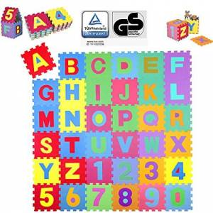 KIDUKU Puzzle Tapis Mousse bébé, 86 pices, Tapis de Jeu trs résistant pour Enfants, Alphabets & Chiffres - Publicité