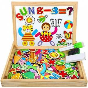 COOLJOY Puzzles Enfant en Bois Magnétique, Jigsaw avec Tableau Noir de Chevalet  Double Face Jouets Educatif pour Bambin Enfants Fille -Lettres et Chiffres 100 Pices Puzzle Aimant - Publicité