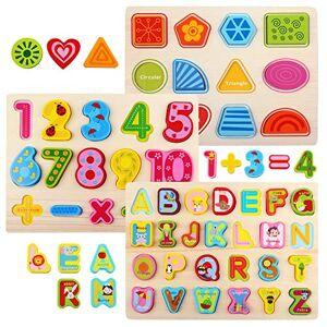 NEWSTYLE Jeux Montessori Educatif Puzzle Alphabet Jouet pour Enfants,Couleurs Vives ABC Lettres Formes Und Nombres Blocs de Puzzle,Apprentissage Précoce Jouets éducatifs Cadeau pour des Gamins - Publicité