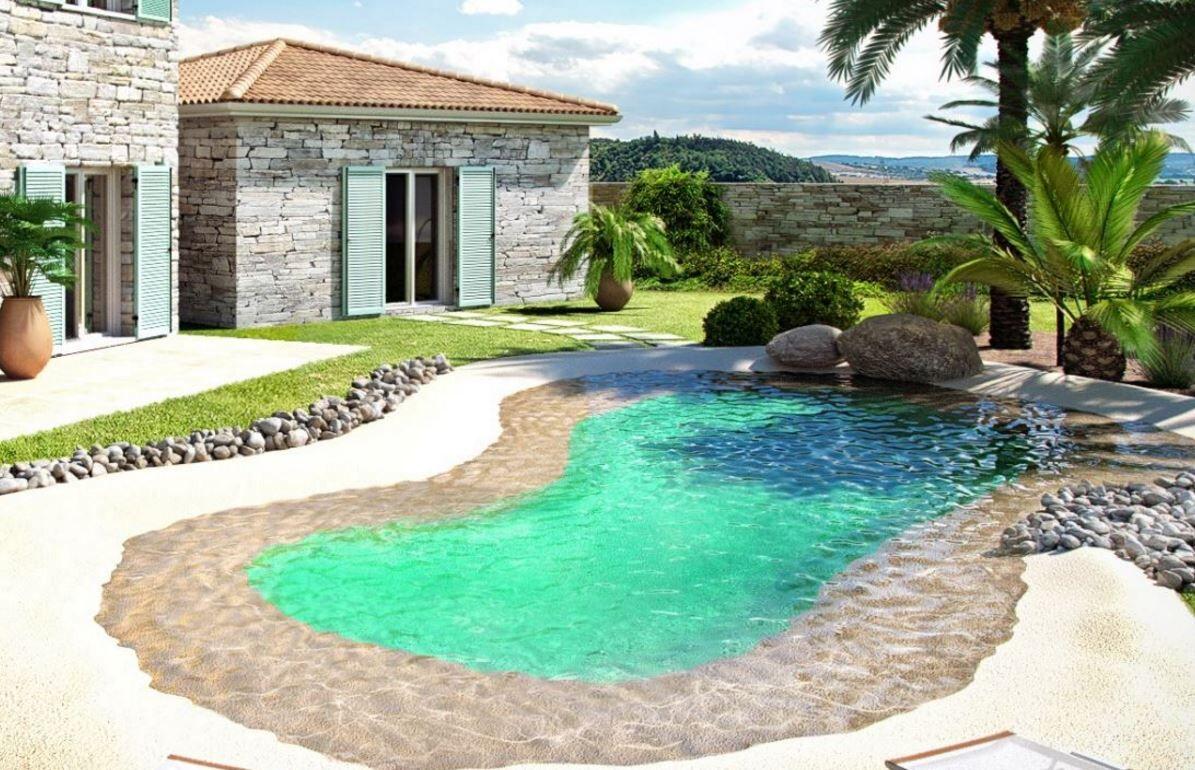 Kit de 50 m² piscine avec plage en caoutchouc