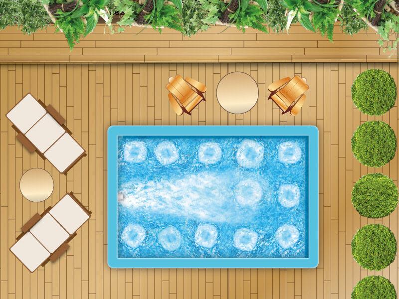 Spa de nage béton 5 x 3 m + nage à contre courant
