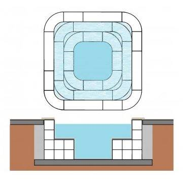 Spa bloc polystyrène CARRE 3 x 3 x 1.00 m + Banquette 50 x 50 cm