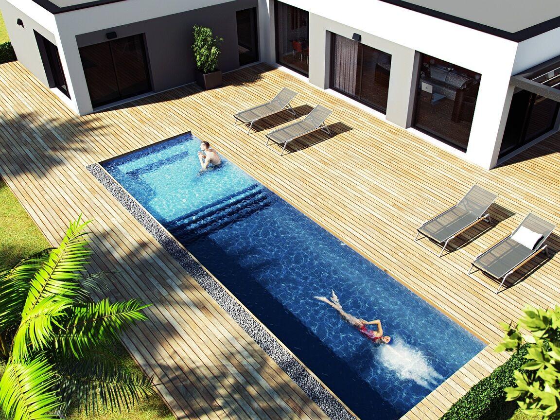 Structure spa de nage polystyrène 9 x 3 x 1.00 à 1.25 m + Escalier + Espace SPA