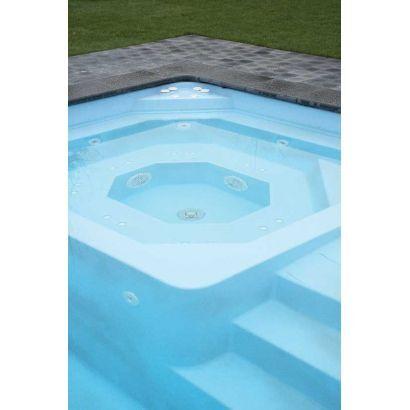 Piscine coque MENPHIS 1 : 7.70 x 3.80 x 1.50 m + LUXE + Coffre PVC hors sol