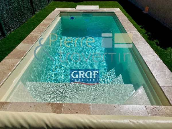 Margelle piscine travertin beige mixte 1er : bassin de 10.00 x 5.00 m