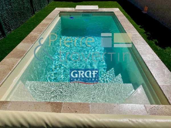Margelle piscine travertin beige mixte 1er : bassin de 7.00 x 3.00 m