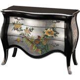 Commode galbée chinoise laque noire et argent motifs fleurs 3 tiroirs