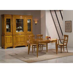 Table ovale chêne L160 pieds sabre 2 allonges - Publicité