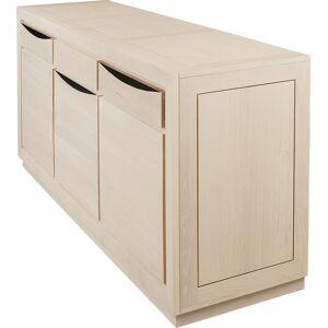 Buffet 3 portes chêne massif blanc pierre 3 tiroirs - Publicité
