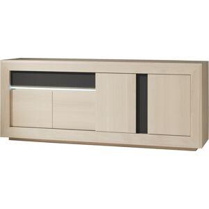 Buffet chêne blanchi 4 portes 1 tiroir décors verre anthracite - Publicité