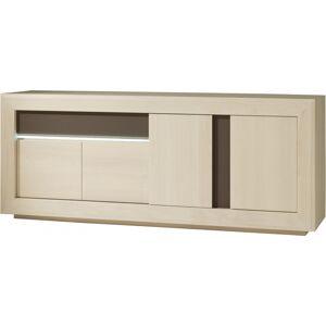 Buffet chêne blanchi 4 portes 1 tiroir décors verre taupe - Publicité