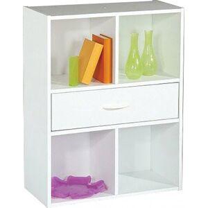 Etagère de rangement blanc 1 tiroir 4 niches - Publicité