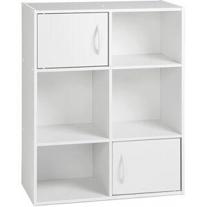 Etagère de rangement blanc 2 portes 4 niches - Publicité