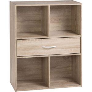 Etagère de rangement ton chêne 1 tiroir 4 niches - Publicité