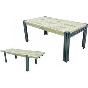 Table de séjour rectangulaire L150 extensible hévéa massif recyclé blanchi pieds fer forgé noir - Publicité