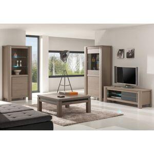 Meuble TV chêne taupe 1 porte coulissante décor verre anthracite 1 étagère verre - Publicité